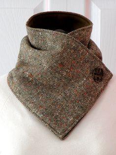 Unisex // Brown Wool Tweed & Fleece NECKWARMER by gmPurseanalities