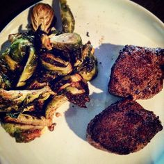 Venison backstrap filets with roasted Brussels sprouts.  #easy #homemade #homekilled #hunt #fresh #natural #delicious #fitfam #protein #lean #fatloss #weightloss #lowcarb #cut #girlswholift #lift #train #workout #workhard #healthy #fuel #fit #strong #power #eat #foodie #instagood by heather_crowell