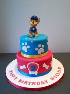 Chase, Paw Patrol 2 tier cake