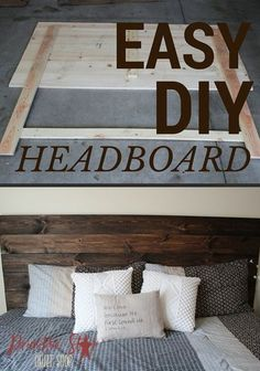 DIY How To Make Your Own Wood Headboard Love this Wood Headboard! So simple! Did you know building your own wood headboard is possible even if you don't own a saw? Check out our DIY step-by-step guide. Easy Woodworking Projects, Diy Pallet Projects, Pallet Ideas, Woodworking Machinery, Woodworking Workbench, Woodworking Videos, Wood Ideas, Woodworking Furniture, Diy Simple
