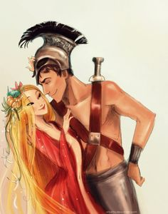 twogranniesandanaxe:  Love and War (Aphrodite and Ares) again, but coloured :D