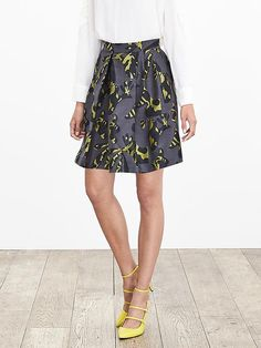 Pieced Jacquard Fit-and-Flare Skirt | Banana Republic
