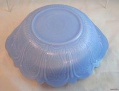 McKee Glass Delphite Blue Serving Bowl Signed Vegetables Depression