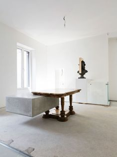 "Nucleo (Piergiorgio Robino + Marzia Ricci), ""Boolean"" And (Table), 2017. Concrete, vintage furniture204 x 142 x 80h cm. Unique piece. Photo courtesy Nucleo and FutureDome."