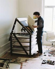 Adjustable working table for Jockum Nordström studio in Stockholm made by Kristoffer Sundin.