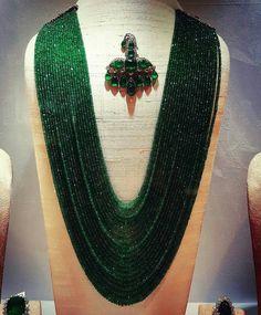 @thejewellcloset Stunning closeup of Polki Emerald Bead necklace & Emerald Turban Pin by Gems jewels palace.