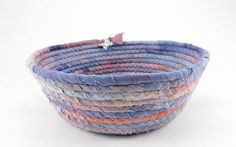Summer Decor Basket, Butterfly Coil Basket, Coiled Rope Basket, Butterfly, Pink Purple Gift Basket, Medium Storage Basket, Laura Loxley Dyeing Fabric, How To Dye Fabric, Gifts For Your Girlfriend, Gifts For Her, Girls Room Storage, Etsy Handmade, Handmade Gifts, Rope Basket, Housewarming Gifts