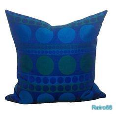 "Retro  Cushion Cover 1960s Blue Circles 20"" x 20"" Vintage & Organic Fabric  £22.50"