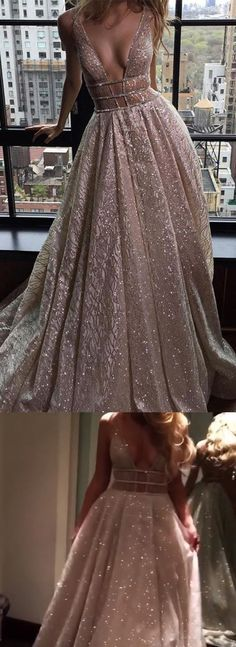 Rose Gold Sequined Prom Dress - Deep V-neck Backless Sleeveless Sweep Train