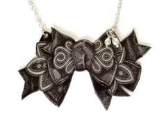 Black Bow Necklace Victorian Illustration Grey by TheSpangledMaker, $26.00