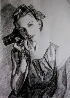 Andreea, black pencil and charcoal on paper