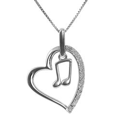 Jewel Exclusive Sterling Silver Diamond Heart w/ Double Music Note... ($25) ❤ liked on Polyvore featuring jewelry, necklaces, multi, pendant jewelry, sterling silver diamond pendant, diamond pendant, heart pendant and sparkle jewelry