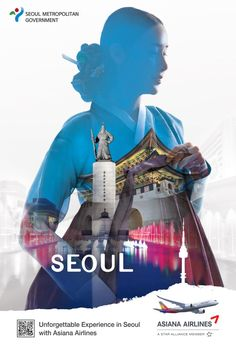 A woman wearing a hanbok is holding her clothes. In the background of the Hanbok, Seoul's major attractions such as Gwanghwamun Square, Gyeongbokgung Palace, and Dongdaemun Design Plaza (DDP) are 'overlapped'. Below this is the phrase. 'Unforgettable Experience in Seoul'. Creative Poster Design, Ads Creative, Creative Posters, Creative Advertising, Graphic Design Posters, Advertising Design, Graphic Design Typography, Graphic Design Illustration, Ad Design