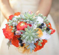 Bouquets filled with interesting flowers