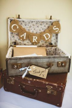 suitcase card display country wedding idea