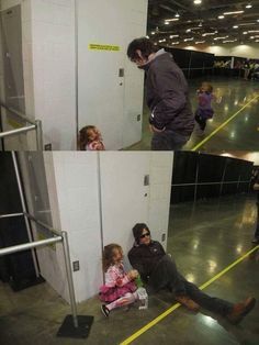 Aw he's sitting with a little girl zombie! I love Norman Reedus!