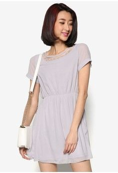 Waisted Dress with Pearl Embellisment from Mayuki in grey_1
