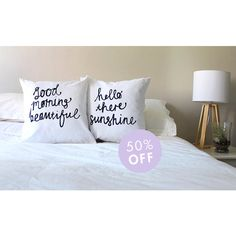 His and Hers Couple Cushions Hello There Sunshine & Good Morning... ($27) ❤ liked on Polyvore featuring home, home decor, throw pillows, decorative pillows, home & living, home décor, white, white toss pillows, white accent pillows and valentine home decor