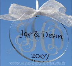 Monogrammed & Personalized Disc Ornament. Great gift idea