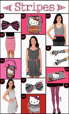 hello kitty, stripe clothing, striped, striped accessories, striped apparel, stripes