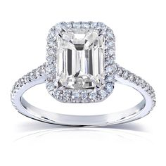 Annello 14k White Gold Emerald-cut Moissanite and 1/4 ct TDW Diamond Engagement Ring (G-H, I1-I2) (Size