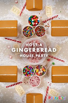 Gingerbread Parties: Oh, What Delicious Fun. Get into the spirit this holiday season by hosting your own gingerbread house decorating party. Party City has the sweetest kits and candy accessories to keep things fun for the entire party. Make memories this Christmas that'll last all year. Oh, it's on.