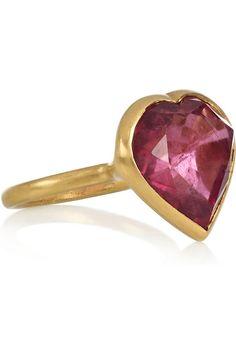 MARIE-HÉLÈNE DE TAILLAC Princess 18-karat matte-gold tourmaline heart ring