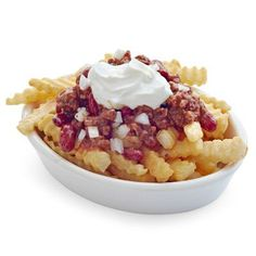 Repinned: Don't just settle for ketchup. Dress up your frozen French fries classic chili style!