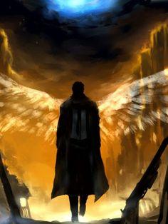 supernatural, castiel, angel, beautiful and drawing Angels Among Us, Angels And Demons, Fallen Angels, Guardian Angels, Supernatural Series, Supernatural Fandom, Dark Fantasy, Fantasy Art, Images Graffiti
