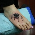 Black Spider Tattoo on Foot