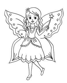 Peri kızı boyama sayfası, Fairy girl coloring page, Página para colorear de niña de hadas, Сказочная страница феи-девушки.
