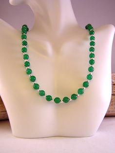 Jade Necklace, Jade Jewelry, Stone Bead Necklace