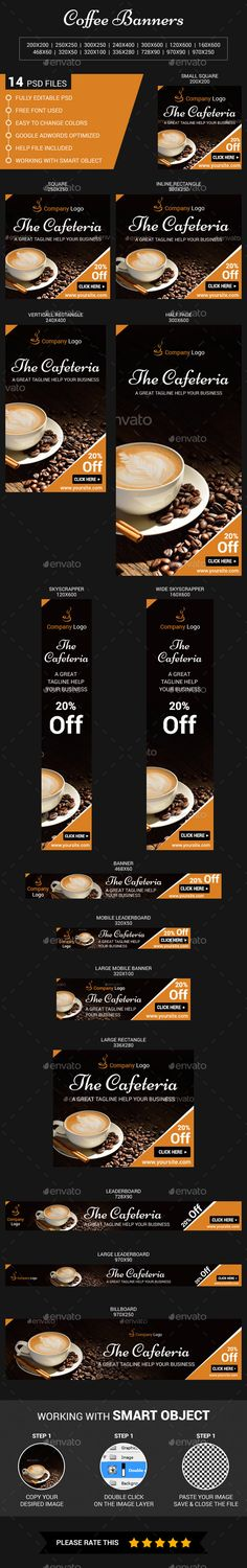Coffee Web Banners Template #design #web Download: http://graphicriver.net/item/coffee-web-banners/11378136?ref=ksioks
