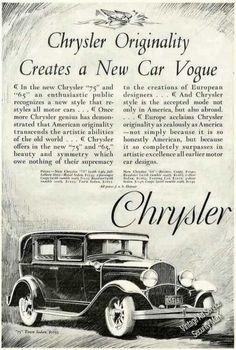Chrysler Originality Creates a New Car Vogue (1928)