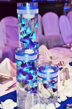 Beautiful blue and purple dendrobium orchid center pieces
