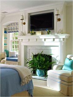Niche for tv.  Beautiful natural light!   Lynn Morgan Design
