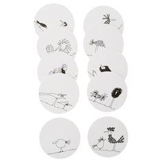 IKEA - ÖNSKEDRÖM, Untersetzer, Eine Seite in leuchtend bunten Unitönen und eine Seite mit unterschiedlichen Motiven - das sorgt für Abwechslung beim Tischdecken.Schützt die Tischoberfläche und dämpft klirrende Geräusche von Gläsern und Bechern.