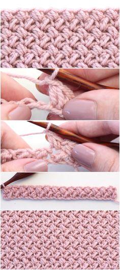 How To Crochet The Mini Bean Stitch Easy Tutorial – Crochetopedia – Knitting patterns, knitting designs, knitting for beginners. Easy Crochet Stitches, Easy Crochet Projects, Crochet Afghans, Crochet Blanket Patterns, Baby Blanket Crochet, Knitting Stitches, Crochet Crafts, Baby Knitting, Knitting Patterns