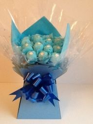 Ferrero Rocher Chocolate Bouquet in Turquoise Ferrero Rocher Bouquet, Ferrero Rocher Chocolates, Chocolate Boutique, Sweet Trees, Handcrafted Jewelry, Handmade, Vintage Gifts, Jewelry Crafts, Bouquets