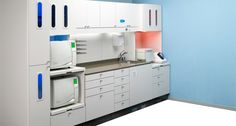 Nook for autoclave off counter top. Work right to left. Suction hose for cleaning up spills. Preference ICC sterilization center