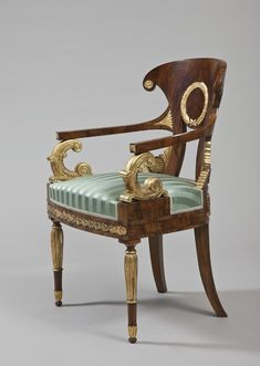 Title:  Armchair with Gilded Carved Plates  Place of creation: Russia. St. Petersburg  Date: 1820-1830s  Material: wood, silk  Technique:  veneer, carved and gilded  Dimensions:  92х60х40 cm