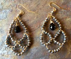 Gold filled wire wrapped swarovski and black by VivianRDesigns