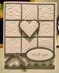 embossed handmade cards Great way to use some of those embossing folders Tarjetas Stampin Up, Stampin Up Cards, Making Greeting Cards, Greeting Cards Handmade, Embossed Cards, Embossed Paper, Cool Cards, Cards Diy, Valentine Day Cards