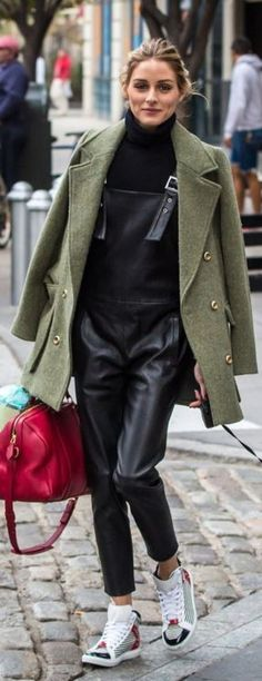 Olivia Palermo: Purse – Louis Vuitton  Key Chain – Fendi  Overalls – Maison de Reefur  Shoes – Balenciaga