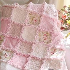 This handmade quilt is so gorgeous!  I love the shabby prints and the chenille squares used for this and how they all compliment each other so well.   Prior pin: МАСТЕР+КЛАСС:+Красивое+покрывало+из+старых+вещей:+мастер-класс