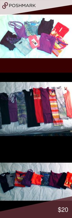 """Lot Kids XL 14/16, Adult XS & S, - 9 for $18 4 girls XL T-shirts, 1 medium, 4 adult ladies XS/S, total of 9, good condition, 2 brand new never worn, 2 spaghetti straps, Different variety name brands, 9 tee shirts for $18.00. Or ($2.00 each) •Top left- (black with pink & green floral) -•#1-""""Derek Heart-size -XL 16 (jr. Miss size), •#2-""""energe""""-reg. adult Medium- measures-17 inches across bust. •#3-""""simply VERA Wang""""- green & purple-XS adult-17 inches across bust. •#4-black muscle tank S, bran…"""