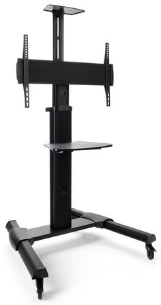 Widescreen Monitor Stand on Wheels - Use an Allen Key to Adjust the Height Rolling Tv Stand, Flat Screen Tv Stand, Monitor Stand, Cable Box, Cable Management, Mounted Tv, Floor Space, Tv Videos, Adjustable Shelving