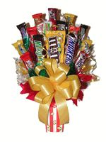 Send this Movie Night gift to your favorite chocolate lover as a suprise for their birthday, get well gift, or a gift just to say you are thinking of them. It will certainly put a smile on their face when they open this sweet candy present from you.This Movie Night Popcorn Bouquet consist of14 fun size chocolate bars or compairable sized candies, 3 large chocolate bars or candy packages. A microwave popcorn is also included.Our Bouquet is wrapped in a cellophane bag and has a bow on…