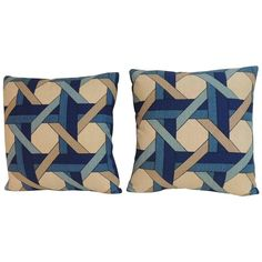 Pair of Vintage Trellis Barkcloth Decorative Pillows | From a unique collection of antique and modern textiles at https://www.1stdibs.com/furniture/more-furniture-collectibles/textiles/