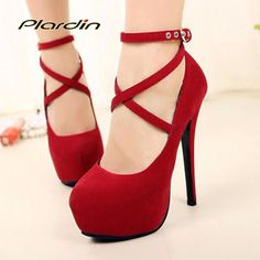 2017 New Arrive High-Heeled Shoes Woman Pumps Wedding/Party Shoes Platform Fashion Women Shoes Red Bottom High Heels 11cm Suede